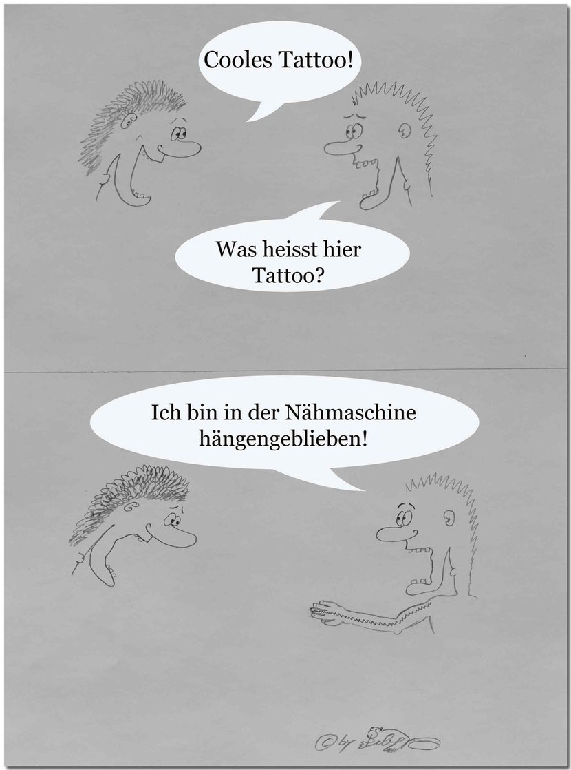 Bild:Tattoo,Witz,lustig,Spass,fun,Nähmaschine,Cartoon,David Brandenberger,d-t-b.ch,d-t-b,