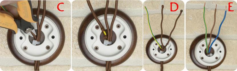cablaggio fili intrecciati impianti elettrici a vista d'epoca vintage