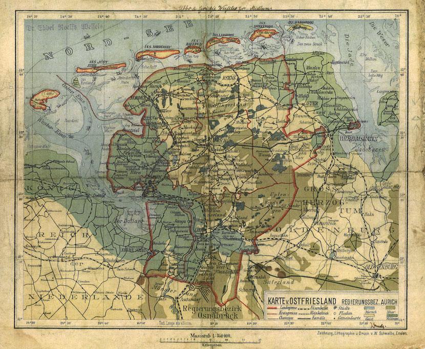 Karte zwischen 1906 und 1911
