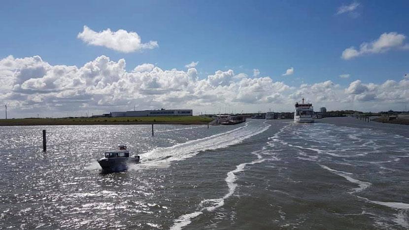 TÖWERLAND EXPRESS  bei der Ausfahrt und Frisia bei der Einfahrt aus/in  den Norddeicher Hafen; Mai 2019