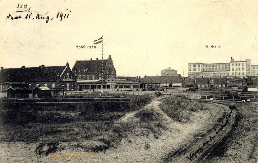 vor 1909 entstand diese Aufnahme, links die Gärten des Hotel Itzen.
