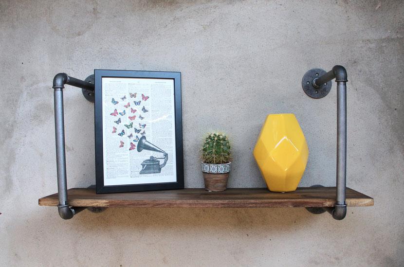 Rohrregal Wandregal Loft Vintage Industrial Style Regal aus Wasserrohren Rohrmöbel Wasserleitungen Eisenrohre Design Stil