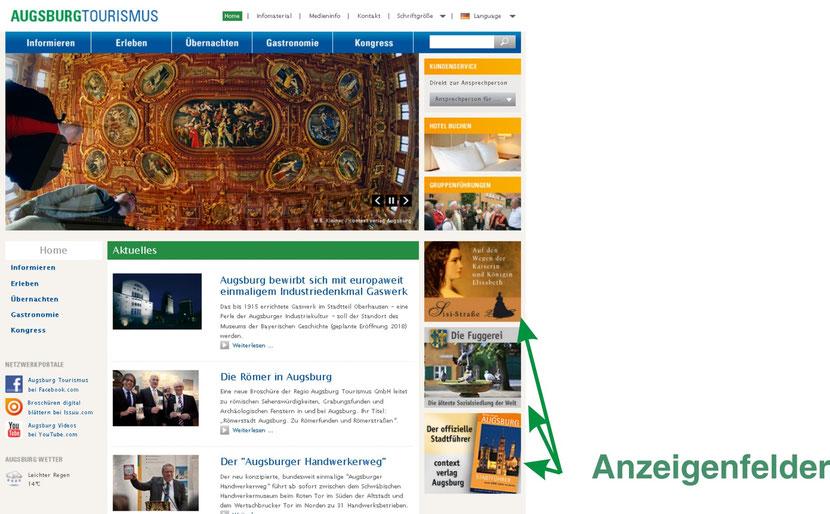 Anzeigenfelder auf der Homepage der Regio Augsburg Tourismus