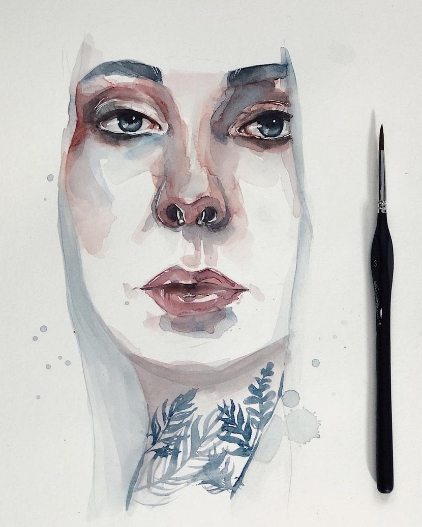 Selbstportrait watercolor von Ayla Ginsberg, florales Aquarell muster und Acryl © Ayla Phoenix Art