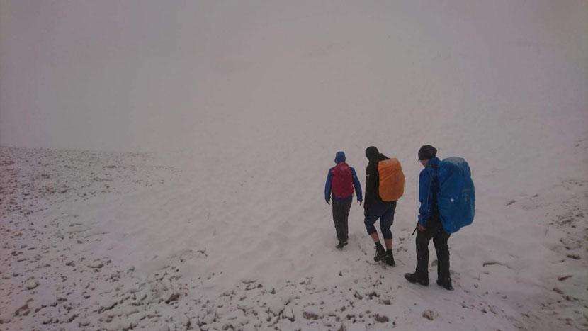 Auf dem schneebedeckten Zugspitzplatt