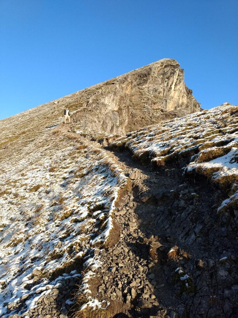 Kurz unter dem Gipfel des Geißhorn