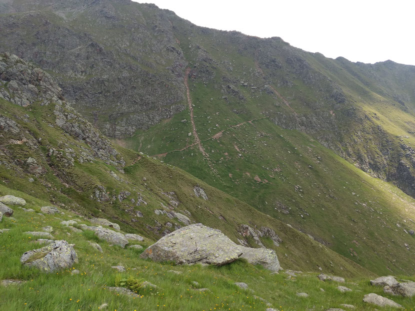 Lang zieht sich der Weg auf schmalem Pfad den Hang entlang