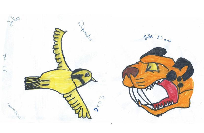 dessin oiseau tigre dent de sabre