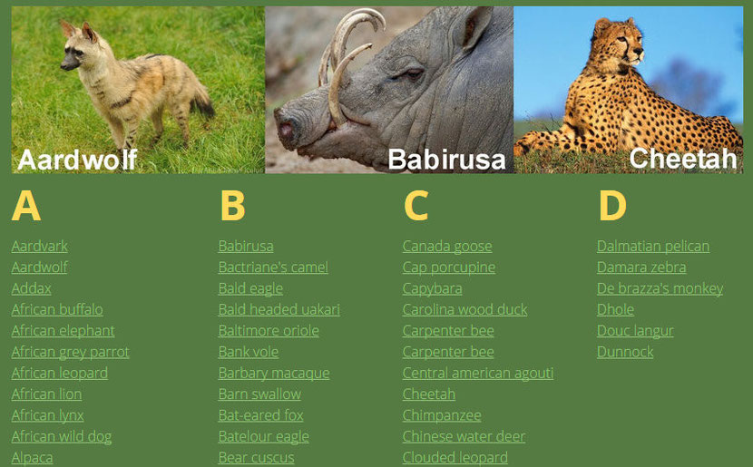 animals listing organised alphabetically