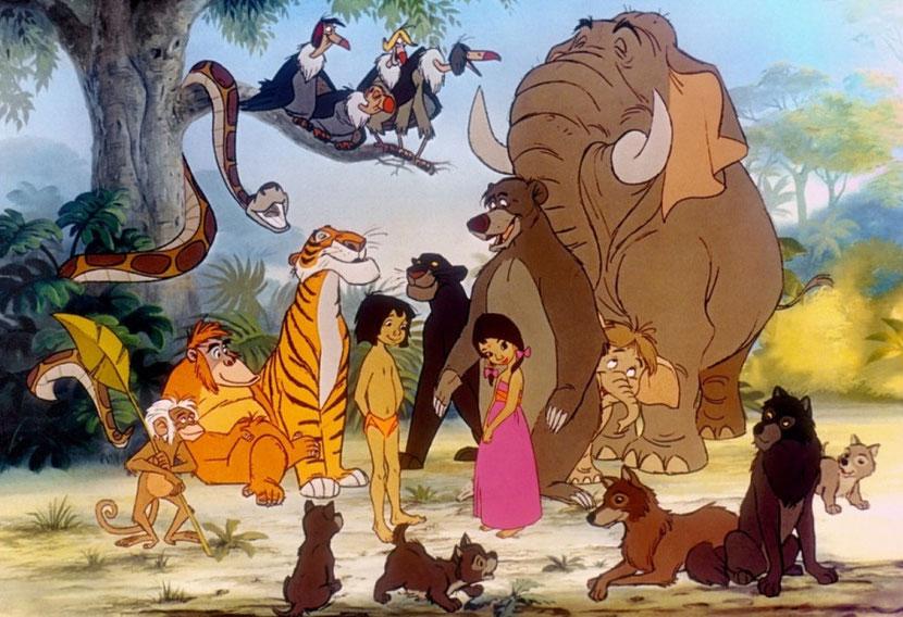 animaux disney livre de la jungle baloo shere khan bagheera roi louis