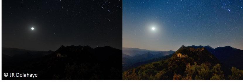 photo de nuit avec des temps de pause différents