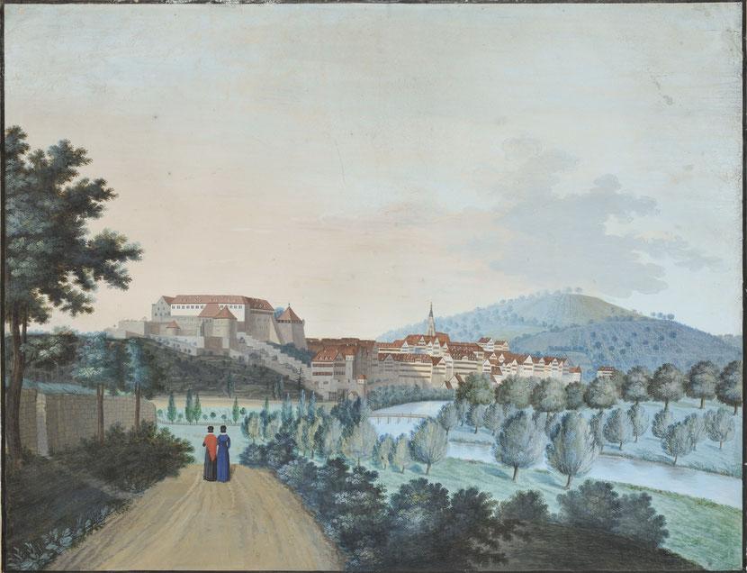 Blick auf Tübingen von Westen, um 1830 (Johann Christian Partzschefeldt). Bild: Stadtmuseum Tübingen, Inv.-Nr. 01617, © Stadtmuseum Tübingen.