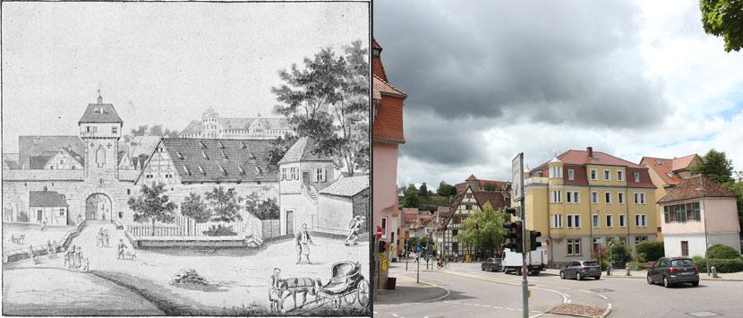 Schmiedtor, nach einer Lithographie von Carl Baumann. Bild links: Tübinger Blätter 1 (1898), 22. Bild rechts: Johannes Thiede.