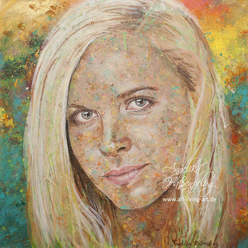 Abstrakt Portrait Portät, modern malerei, Künstlerin Angelika Haßenpflug, Living Art, Auftragsarbeit,abstrakt