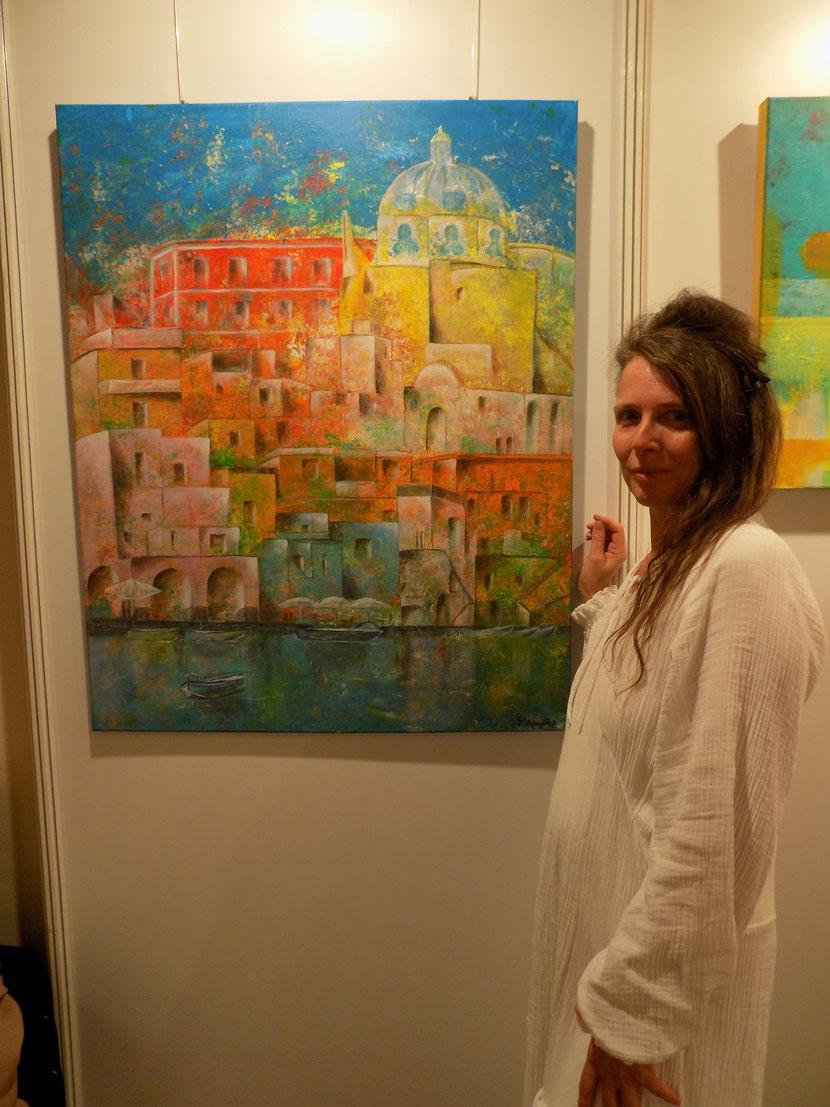 Abstraktes Bild Neapel, Procida, bunte Häuser, , Acryl, moderne kunst, angelika haßenpflug, living art.