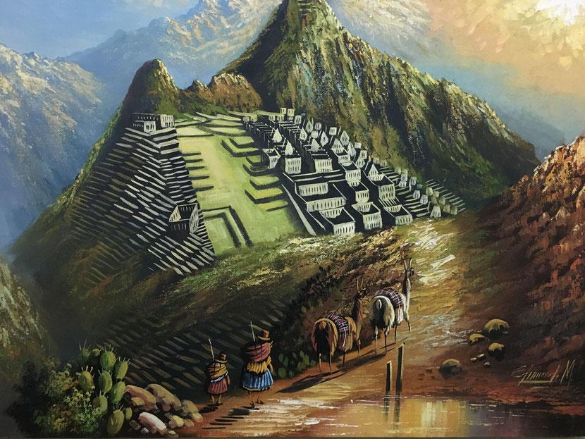 Gemälde von Machu Pichu, das im Gästehaus in Lima hängt.
