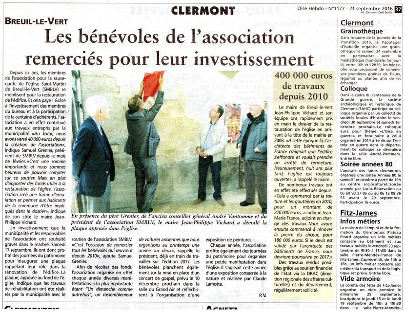 21 septembre 2016 - Oise Hebdo - Les bénévoles de l'association SMBLV remerciés pour leur investissement.