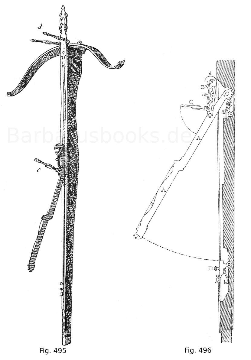 Fig. 495. Spanische Balläster mit geätztem und vergoldetem Bogen und derlei Montierung aus dem Besitz des Kaisers Maximilian I. Die Säule ist hellrot lackiert, mit Ornamenten in Malergold und dem burgundischen Wappen geziert. Der Säulenhebel mit dem Abseh