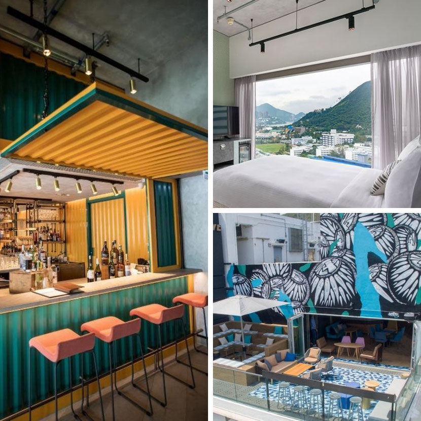 unusual industrial hotel in Hong Kong with graffiti and rooftop bar