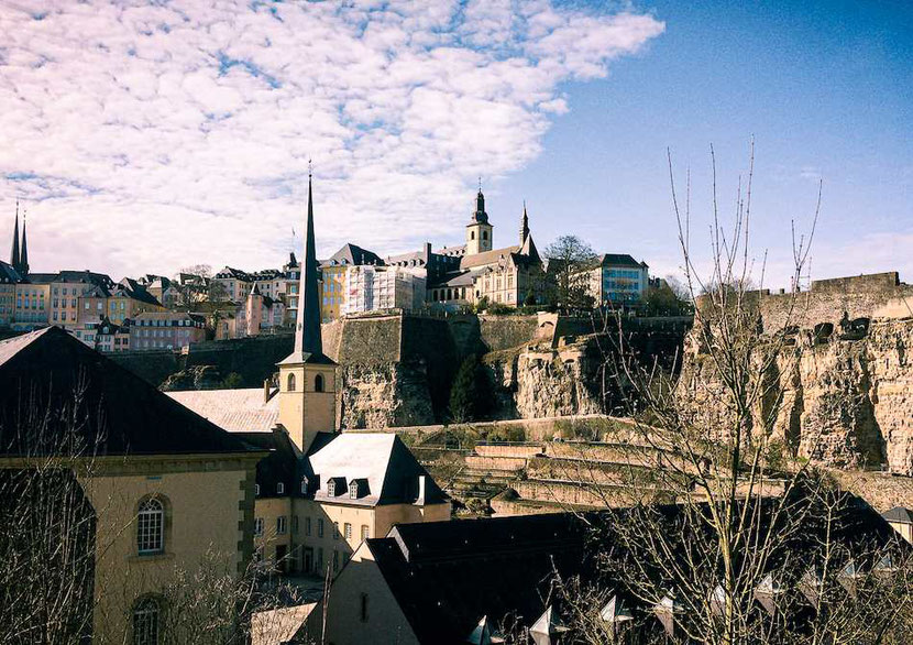 Luxembourg City; view from the Grund to the upper city