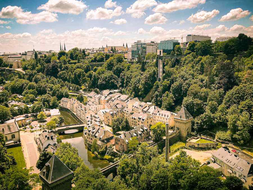 Luxembourg City, lower and upper city seen from the Red Bridge in Luxembourg