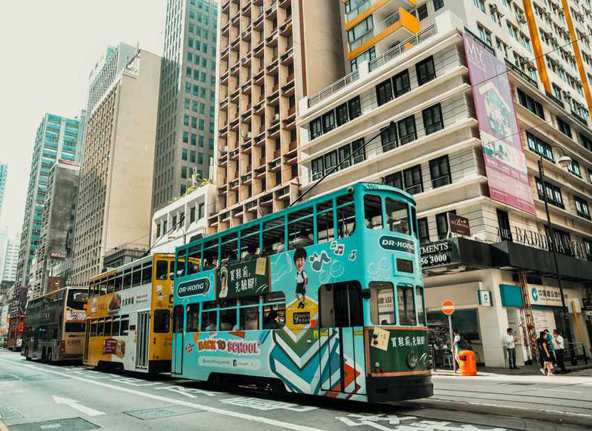 vintage double deck trams that you can find only in Hong Kong