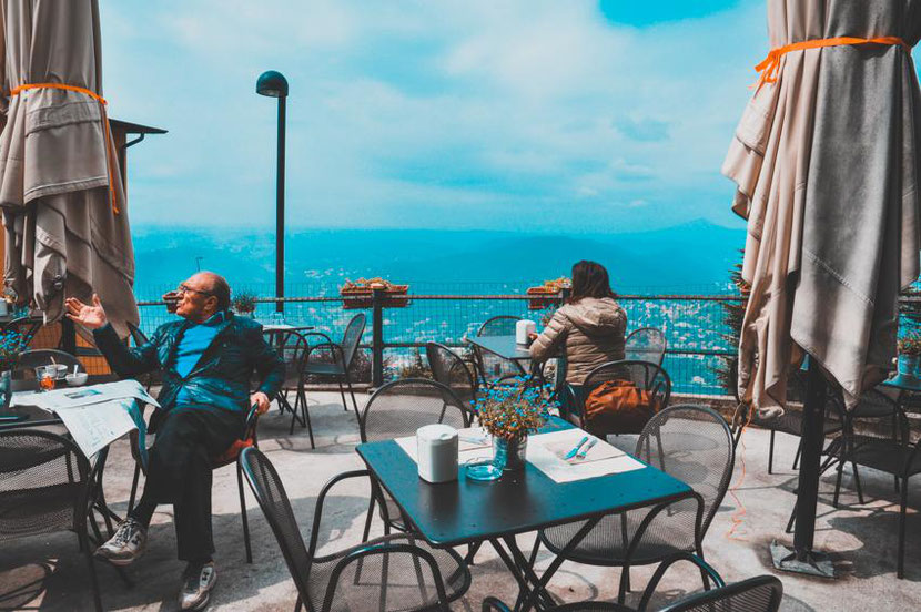 a lovely cafe with a panoramic view in Brunate, that you can visit if you take a funicular from Como city