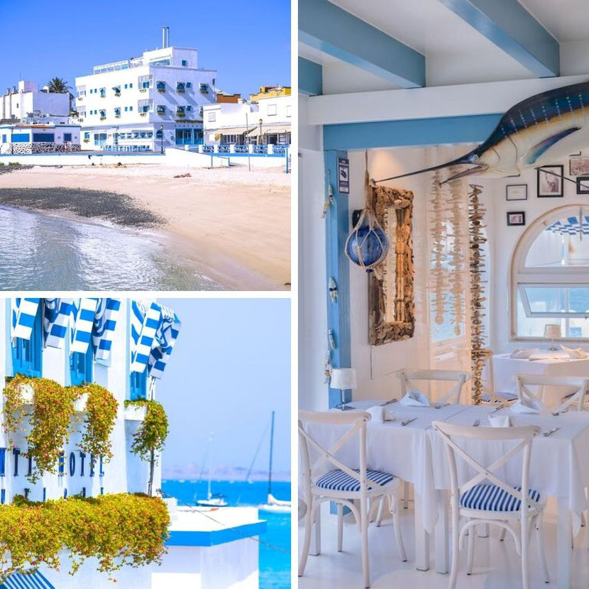 white and blue hotel in Fuerteventura on the first line of the sandy beach