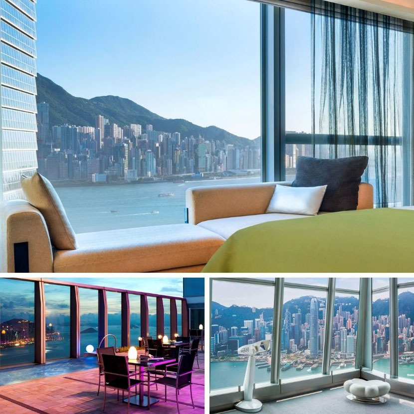 unique hotel in Hong Kong on the highest building in the city and with fantastic panoramas