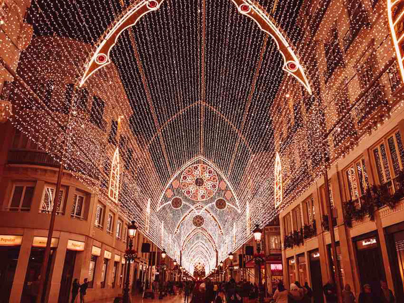 Christmas lights and decorations in Malaga