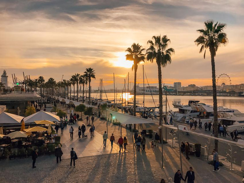 here is how a waterfront promenade in Malaga looks in winter