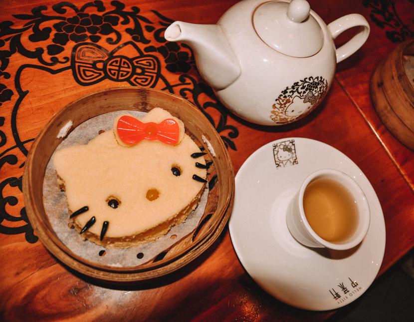 Hello Kitty-shaped sponge cake in the Hello Kitty Restaurant in Hong Kong