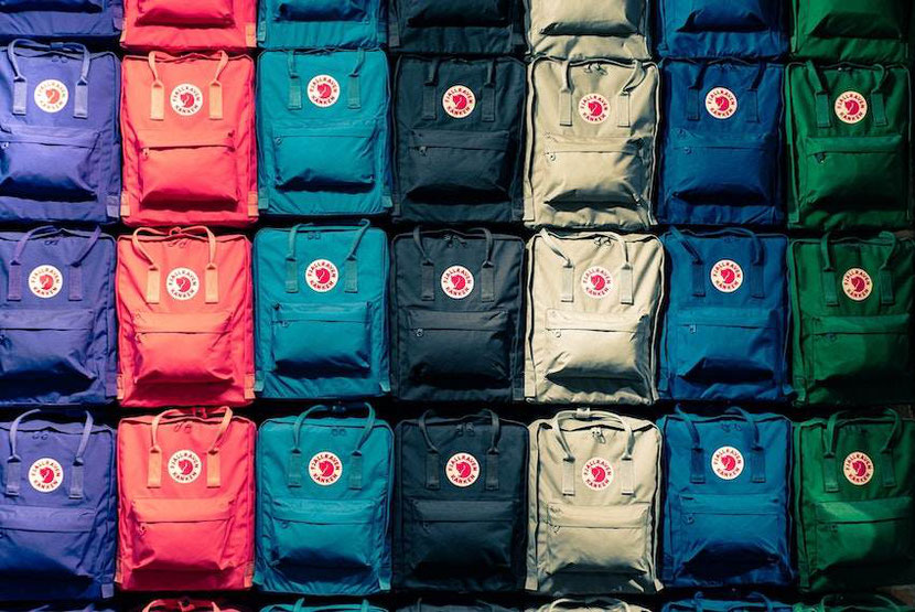 colorful Fjallraven Kanken backpacks