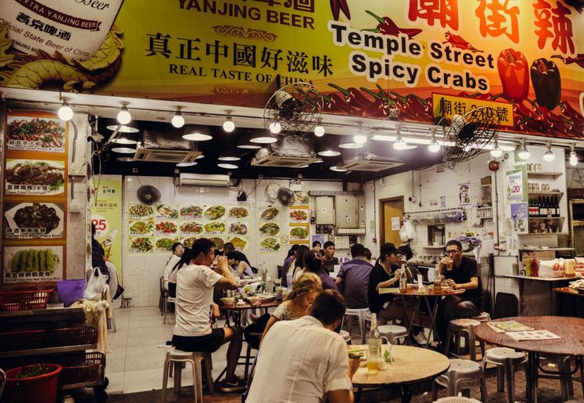 уличная еда в Гонконге: ресторан с острыми крабами