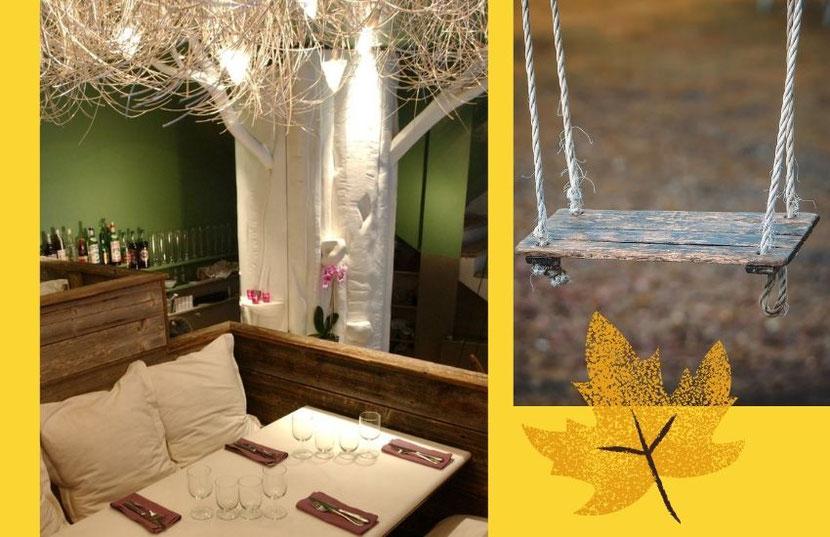 оригинальный ресторан в Париже с качелями и деревьями