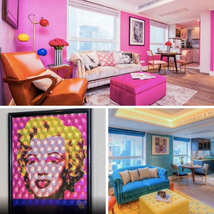 unique themed hotel in Hong Kong with a Marylin Monroe-styled room