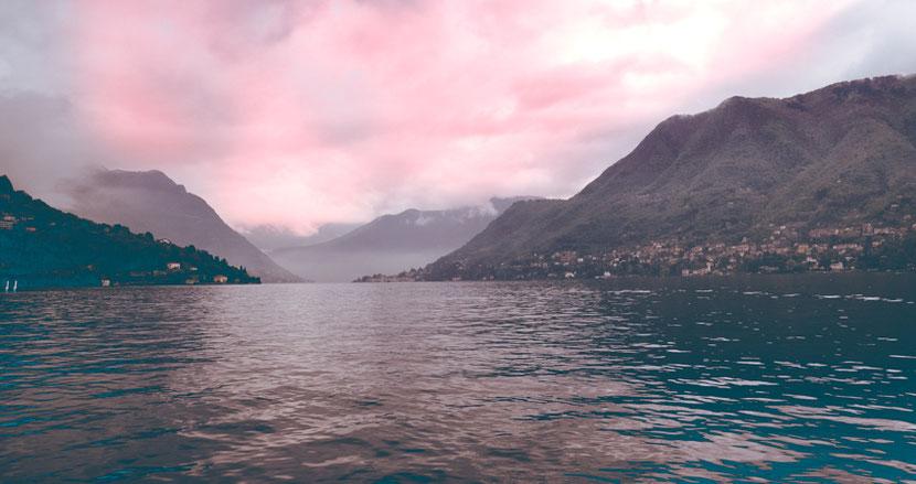 закат на озере Комо