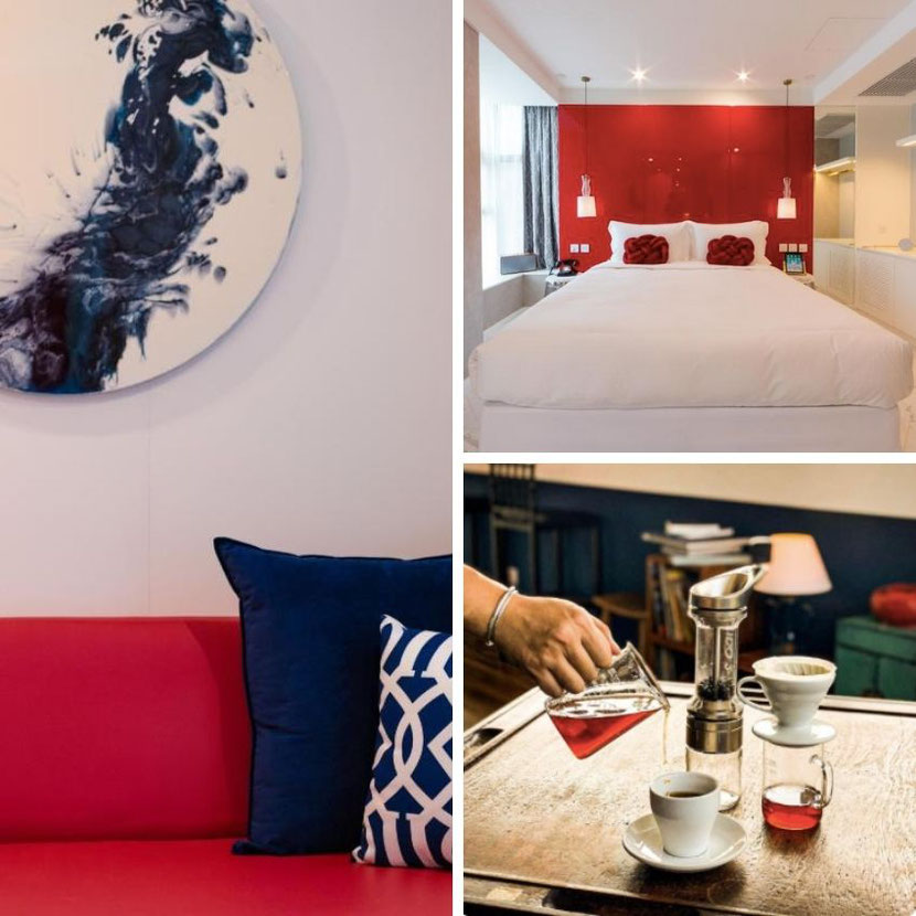 unusual art hotel in Hong Kong Tung Nam Lou with designer rooms, tea workshops, colorful furniture and bed lining