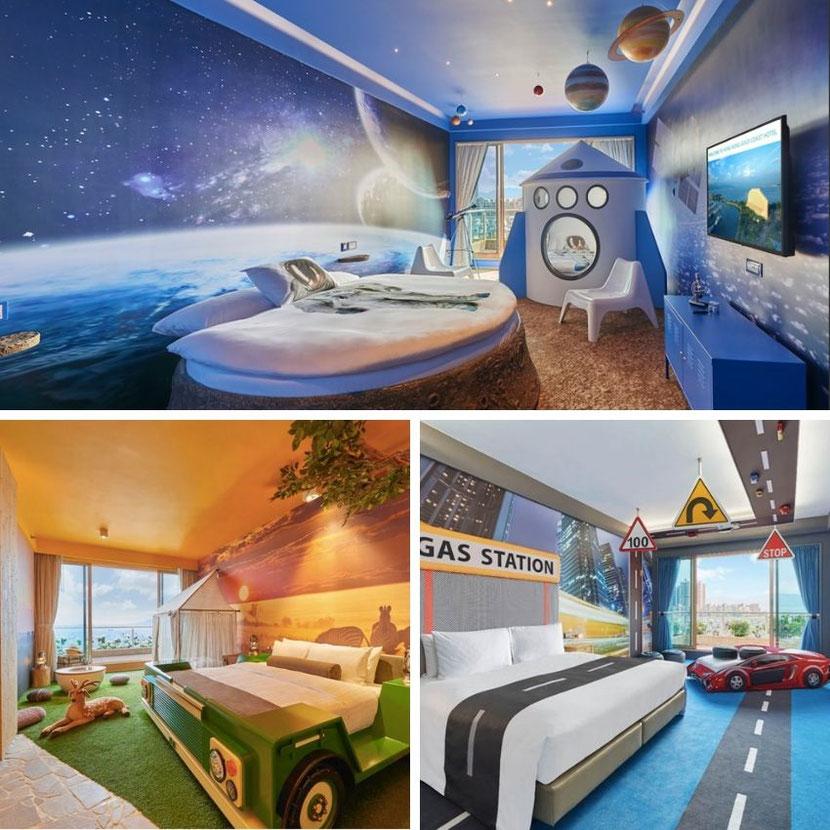тематические комнаты в необычном отеле в Гонконге: космос, сафари, автогонки