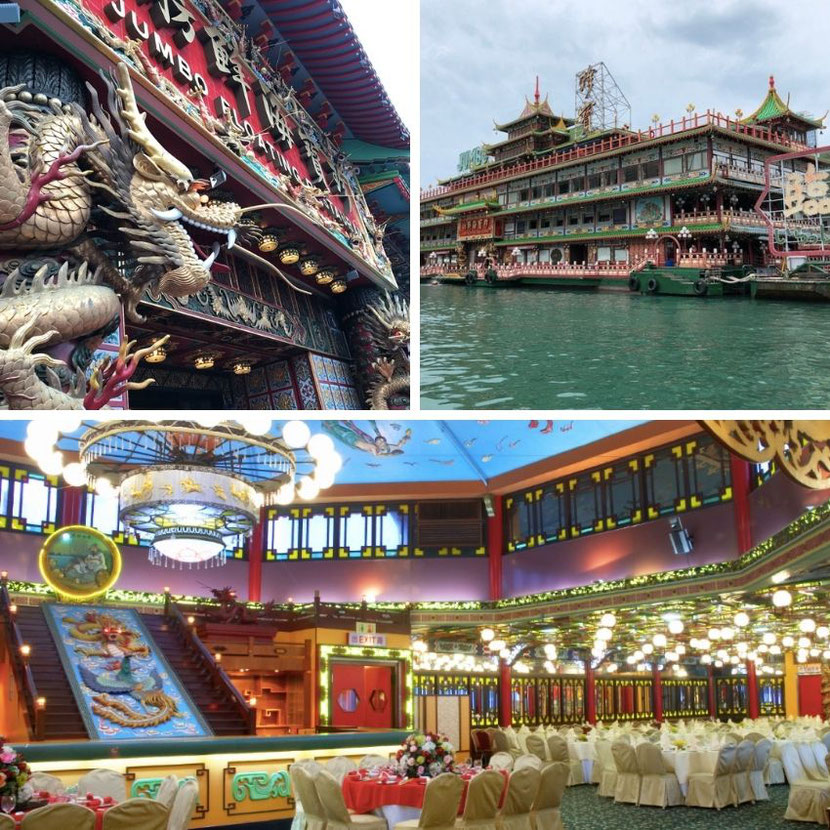 необычный ресторан в Гонконге на корабле в китайском стиле с красочным интерьером