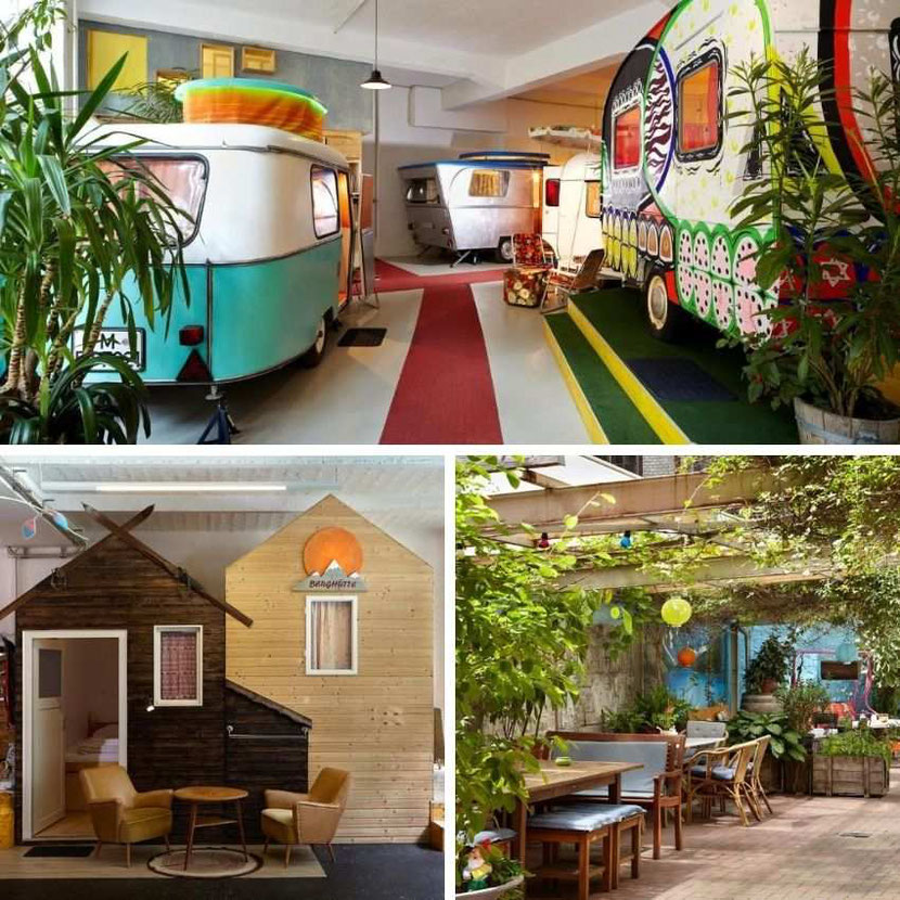 a cool hotel in Berlin with a camping and caravanning theme