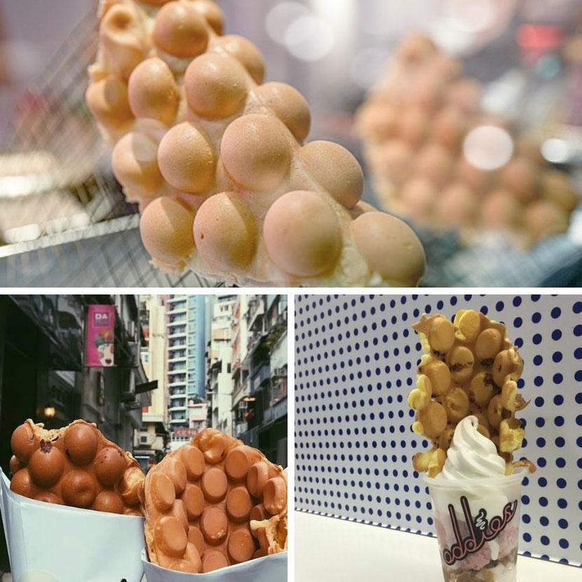 необычная уличная еда в Гонконге: пузырчатые вафли