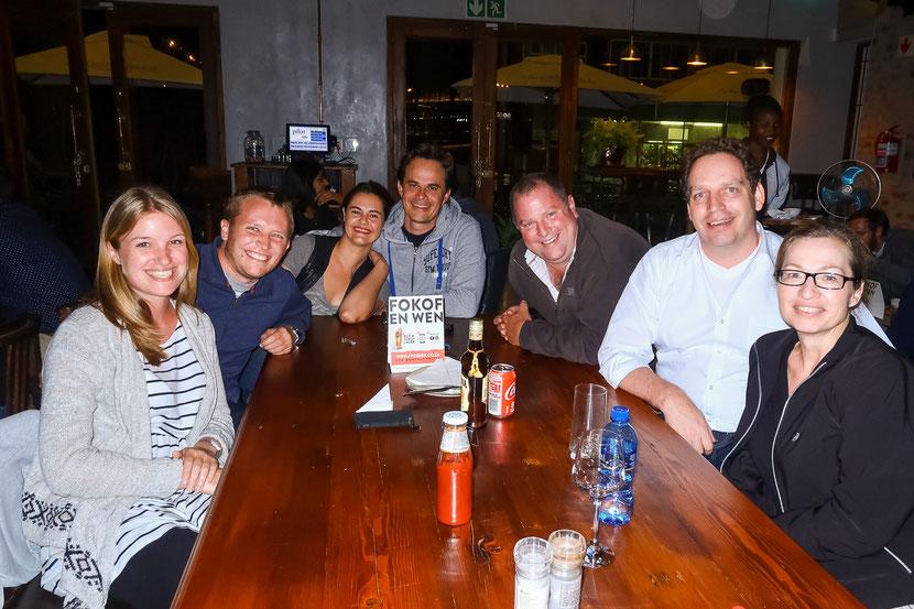 Abschiedsessen in Johannesburg mit Jay, Jan, Andrew, Thomas, Sibylle und Moira (nicht auf dem Bild). Thanks a lot guys!