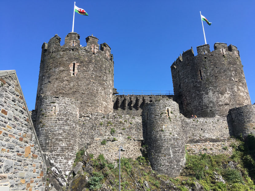Conwy castle: Once painted white it is the first one, which allowed the architect to consider aesthetic aspects.