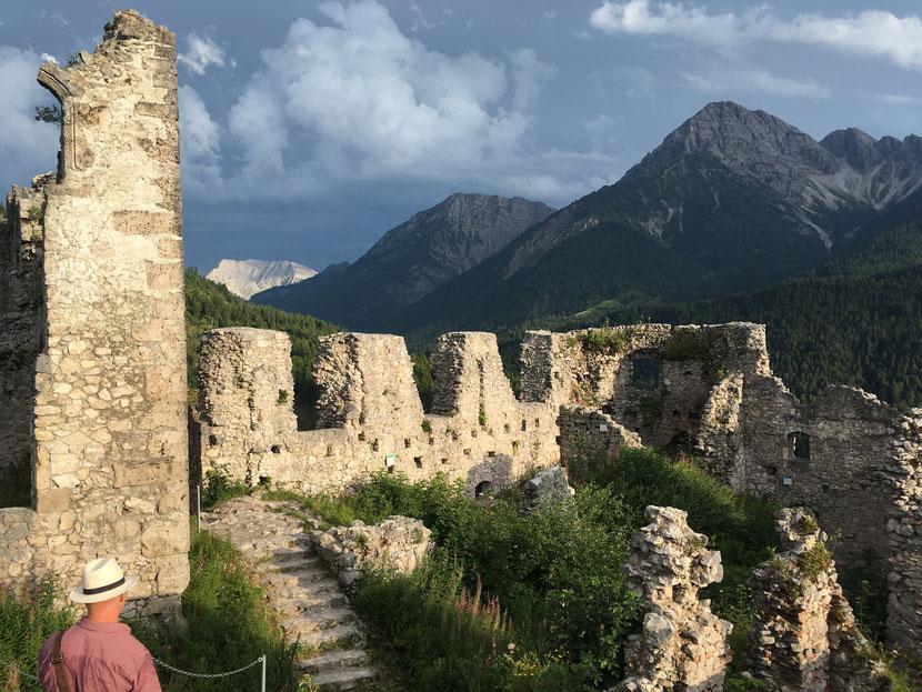 Castle ruins at Zeitreise, Ritterspiele (time travel) in Ehrenberg, Tirol, Austria