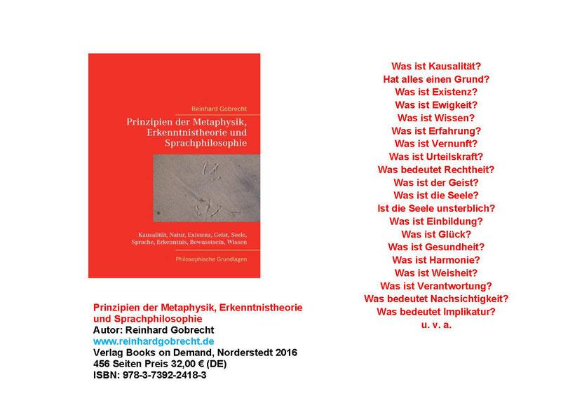 Flyer Prinzipien der Metaphysik, Erkenntnistheorie und Sprachphilosophie