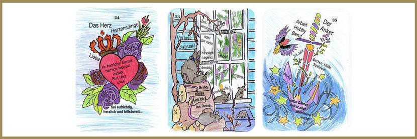 Lenormandlernkarten Herz, Mäuse und Anker