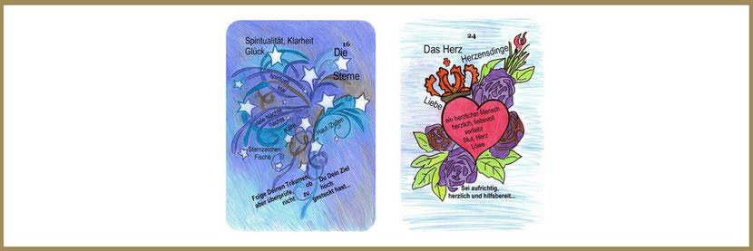 Sterne und Herz aus den Lenormandkarten