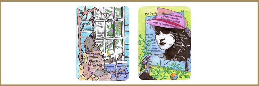 Mäuse und Dame aus den Lenormandkarten