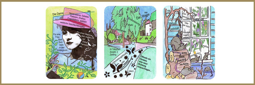 Dame, Wege und Mäuse Lenormandkarten